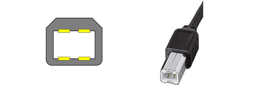 USB Type B(USB2.0)のコネクタ図と写真