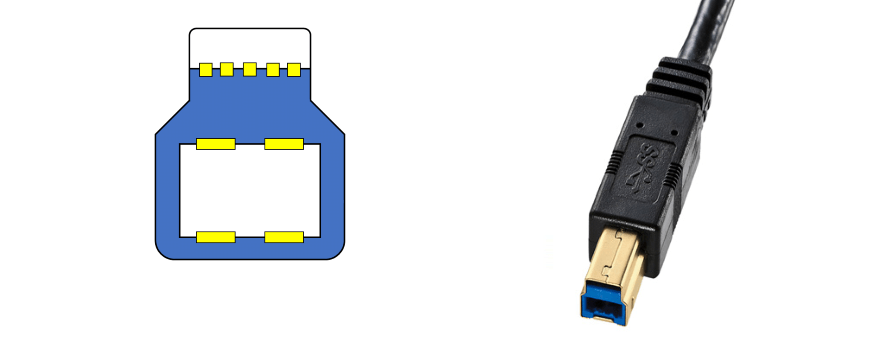USB Type B(USB3.0)のコネクタ図と写真