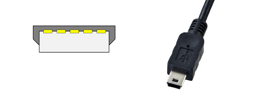 mini USB Mini-B のコネクタ図と写真