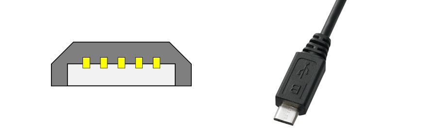 Micro USB Micro-B のコネクタ図と写真