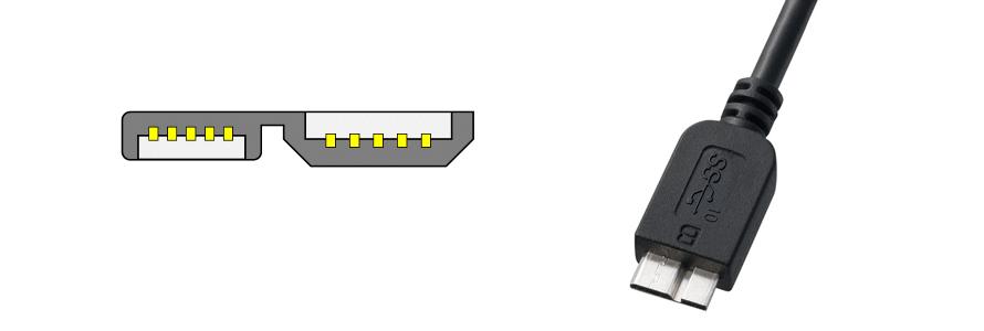 Micro USB 3.0 Micro-B のコネクタ図と写真